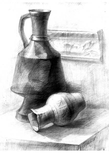 Рисунки натюрморта из предметов